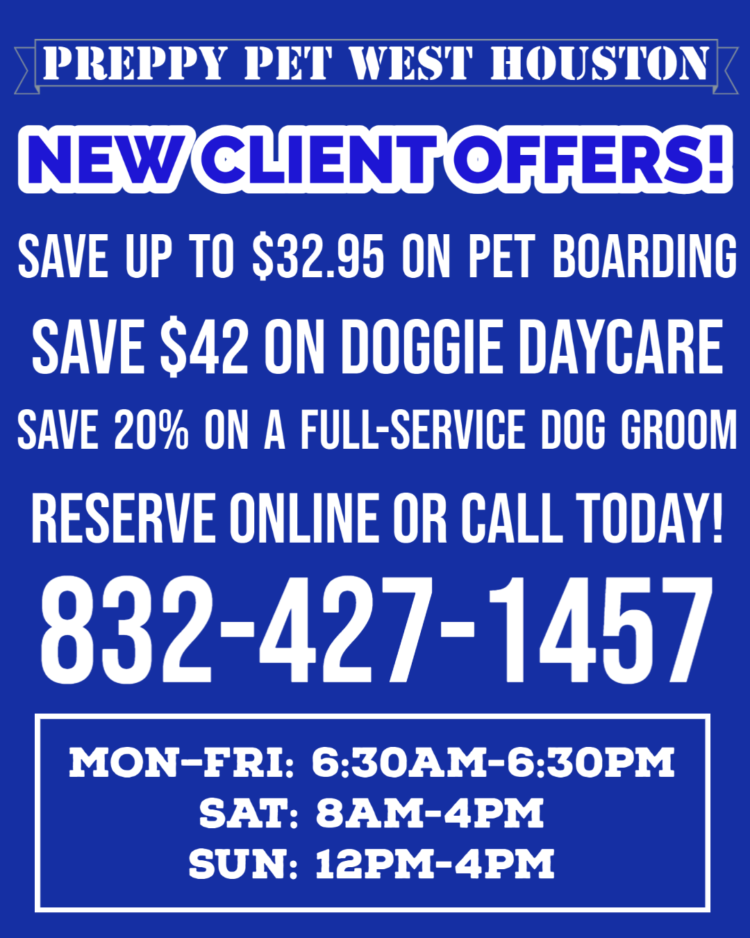 Preppy Pet West Houston New Client Offers